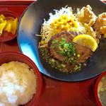 ジョイフル - 日替わり昼膳・月曜日(さわやかレモンハンバーグ&若鶏の唐揚げ膳)