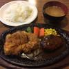 モンシェール - 料理写真:ハンバーグステーキとチキンカツ盛り合せ