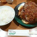 洋食の店 もなみ - Wハンバーグ&海老フライ(1580円)