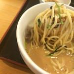 らあめん彩龍 - 魚粉投入後のつけダレからの麺リフト〜❤️