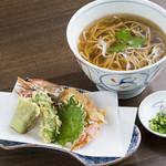 産庵 - 揚げたてでぷりっぷりっの海老が美味しい天ぷら蕎麦
