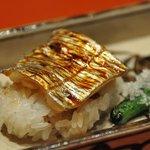 おばな - 強肴:太刀魚付け焼き 飯蒸し 青唐地漬け