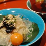 おばな - 御飯:冷やし饂飩 椎茸・茗荷・紫蘇・温度玉子・胡麻・山葵