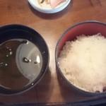 民芸茶房 - ライス 味噌汁