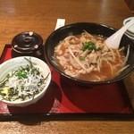 らーめん 麺座 - 豚肉ラーメン+シラス丼セット \950
