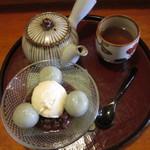 甘処 あかね - クリーム白玉 ほうじ茶付き