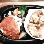 トマト&オニオン - チーズハンバーグ&唐揚げ