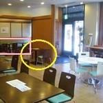 天壱 - 黄○が座った席、ピンクの四角の部分が壁だったんだけど、扉が空いたら席でした。