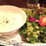 43543573 - 前菜のキタアカリと舞茸のスープとサラダ