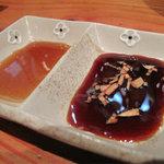 トクトク - タレは、ゆずポンとガーリックチップ入り醤油です。
