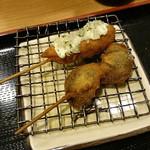 串揚げ ひら乃 - サーモンと椎茸