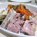 ビストロ・モンペリエ - 料理写真:パテ・ド・カンパーニュ  豚レバーのテリーヌ  鴨のリエット  ホタテのテリーヌ サーモンマリネ ピクルスとサラダ添え