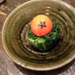 宮崎県日向市 塚田農場 - ニラon卵黄  ドラゴンボール風  芸が細かいです。