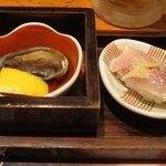 博多壱 - 活アワビとお寿司が付出し(驚)