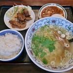 中華菜館 彩中 - 日替ランチ(塩ラーメン、焼肉、麻婆、ライス)850円