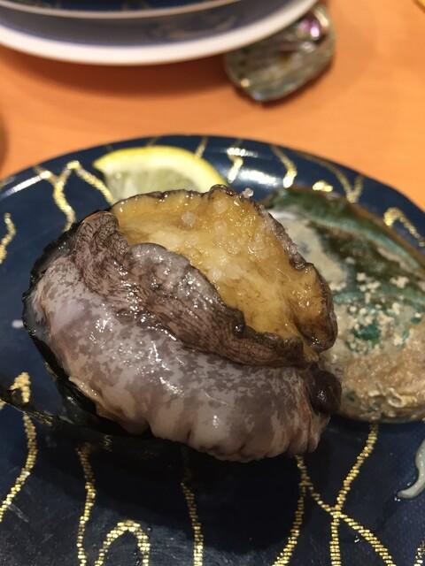 ひょうたんの回転寿司 - 2個めに頼んだひとくちアワビ。さっきのと違いすぎ。食感も味も大違いでこちらは美味しかった。