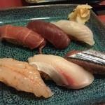 43589006 - 【第一の皿】○中トロ様、赤身様、タイ様、甘エビ様、ヤズ様、サンマ様