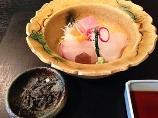 和彩膳所 楽味 - 造り<本マグロ,フクラギ,ヒラメ>,塩昆布