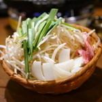 ジンギスカン霧島 - 2015.10 食べ放題の野菜盛り(もやし、ニラ、玉ねぎ)と脂
