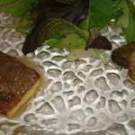 43638849 - 前菜さんアップ  右があかさばを揚げたもの                       左はいかのソースがかかってます。