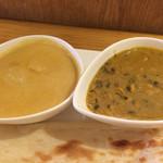 アロック インディアンレストラン - 右:海老カレー 左:豆カレー