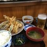 いちばん - いただいたのは、穴子天ぷら定食、ご飯大盛り、ビール