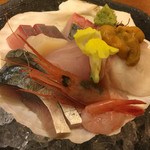 43666250 - しめ鯖、うに、帆立、生蛸、鯛、ぶり、甘エビ他見た目よりボリュームがあり、鮮度も良くとても美味しいお刺身盛り合わせ。1800円
