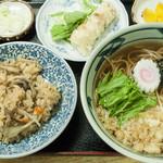 笹屋 - そば定食(そば・舞茸炊込ご飯・ちくわ天ぷら):730円/2015年10月