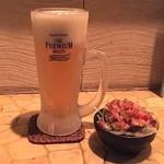 旨い魚とバリメシ 南風 - 食べログクーポンを使って☆ウェルカムドリンク1杯☆×人数分サービス!でのビール~。