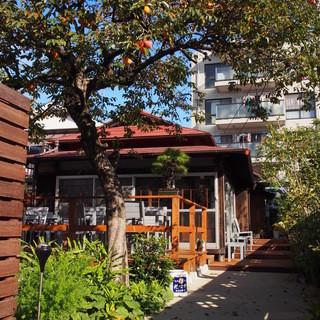 大きな柿の木がお客様をお出迎え。秋晴れのテラスでティータイム