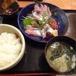 43697390 - 秋刀魚刺し定食・・秋刀魚のお刺身・お味噌汁・ご飯・お漬物のセットです。