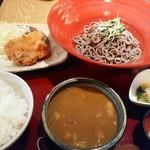 文楽 - カレー蕎麦定食 1000円 とんかつ カレー