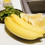 海底撈火鍋 - 2015.10 取り放題の枝豆、バナナ、グレープフルーツ