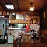 力餅食堂 - H.27.10.28.昼 中ほどのテーブル席から厨房方向