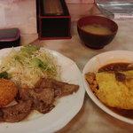 阿べ屋 - オムハヤシ・コロッケ・焼肉のセット630円!
