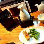 串と刺身 さんびょうし - 熱燗、九頭竜(燗たのし)2合