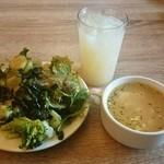 43846281 - サラダバーのサラダと、グレープフルーツジュース、玉子スープ