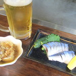 鉄板焼き なおき - お通し+ビール