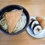 多田製麺所 - かけそのまま+お揚げと寿し