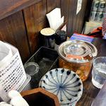ラーメン一心 - 卓上に常備された調味料類(2015年10月)