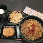 ゆで太郎 - 料理写真:朝そば玉子+かき揚げ(2015年10月)