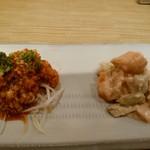 43896559 - 前菜2種①カツオのたたき香味ソース②柿のはす芋の胡麻あえ