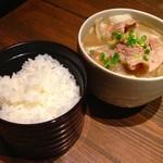43898990 - 富士鷹松花堂弁当のご飯&ちゃんこ