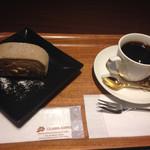 小川珈琲 - 4種の木の実のお米のロールケーキのドリンクセット 660円