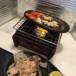 寿司 真之助 - 鮑の陶板焼き