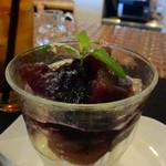 43918794 - デザートは無花果のミニパフェに白ワインのジュレ、下にはバニラアイス。
