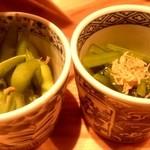 43930801 - 焼きとりの八兵衛 お通し (枝豆と小松菜のおひたし)fromグリーンロール