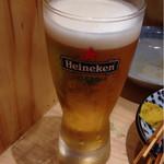小江戸 - ハイネケン樽生・銘柄グラスで