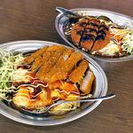インデアンカレー - 料理写真:ヤサイタマゴカレー・トンカツトッピング(大盛)& ヤサイタマゴカレー・メンチトッピング(大盛)(2015年10月)