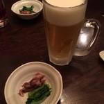 食彩酒房 ぼんさんて - お通し、300円(税別) 生ビール(中)、500円(税別)